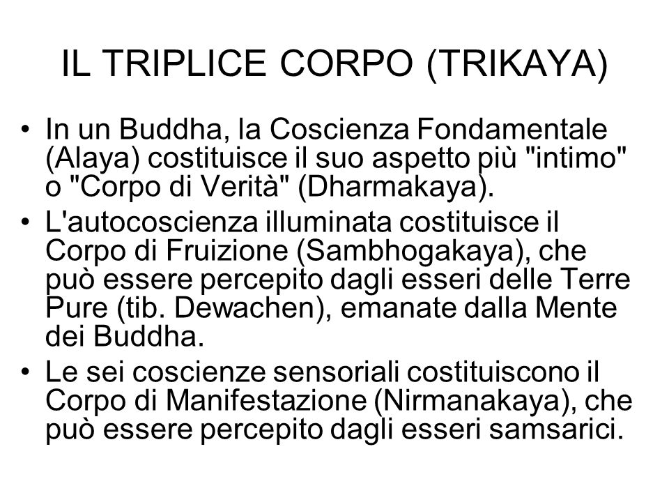 IL TRIPLICE CORPO (TRIKAYA) In un Buddha, la Coscienza Fondamentale (Alaya) costituisce il suo aspetto più intimo o Corpo di Verità (Dharmakaya).