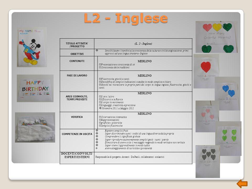L2 - Inglese TITOLO ATTIVITA /PROGETTO (L.