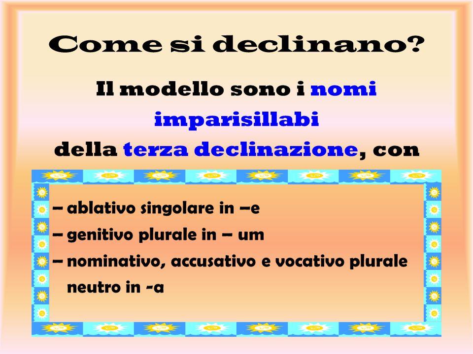 Come si declinano? Il modello sono i nomi imparisillabi della terza declinazione, con –ablativo singolare in –e –genitivo plurale in – um –nominativo,