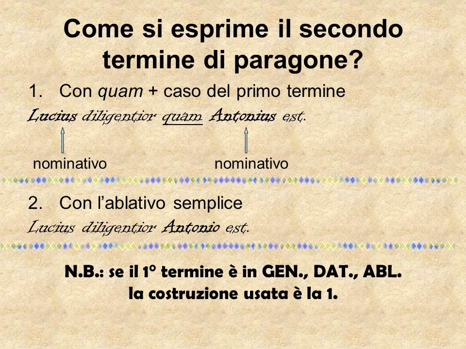 Come si esprime il secondo termine di paragone? 1.Con quam + caso del primo termine Lucius diligentior quam Antonius est. nominativonominativo 2.Con l