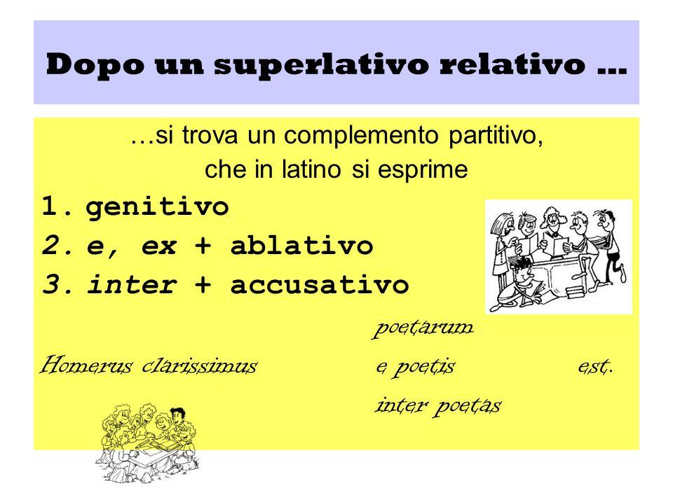 Dopo un superlativo relativo … …si trova un complemento partitivo, che in latino si esprime 1.genitivo 2.e, ex + ablativo 3.inter + accusativo poetaru