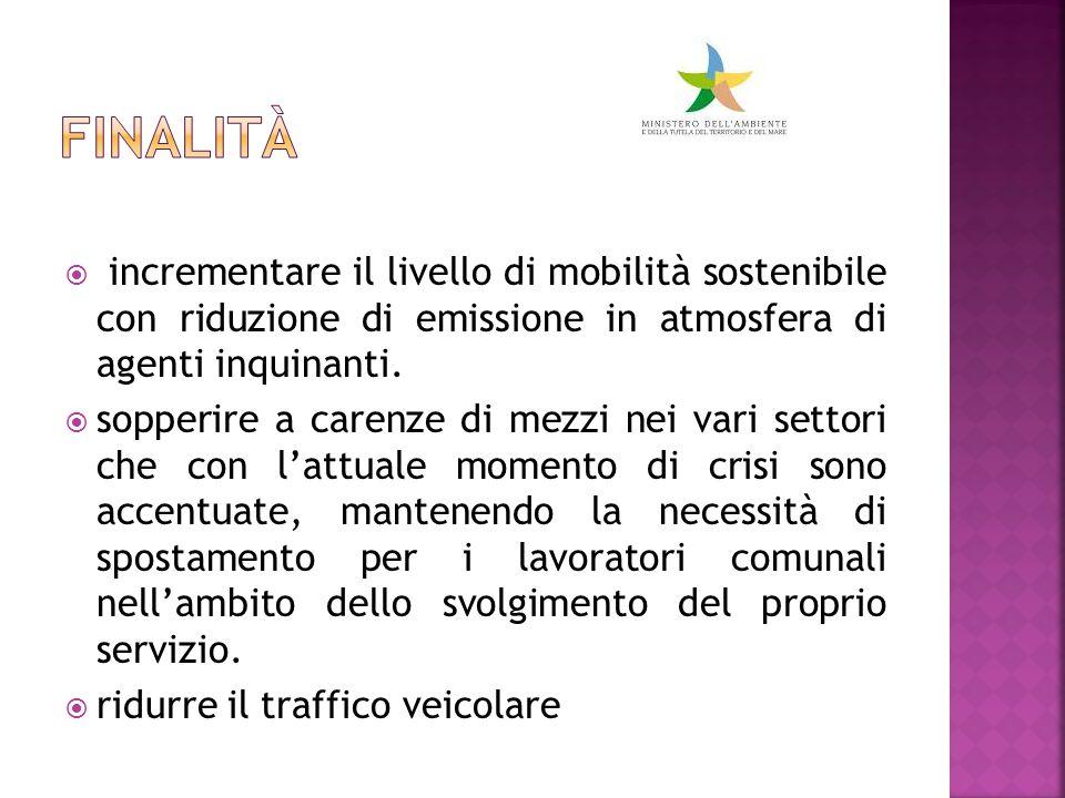  incrementare il livello di mobilità sostenibile con riduzione di emissione in atmosfera di agenti inquinanti.