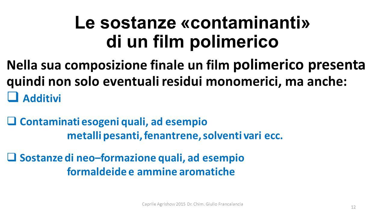 Le sostanze «contaminanti» di un film polimerico Nella sua composizione finale un film polimerico presenta quindi non solo eventuali residui monomeric