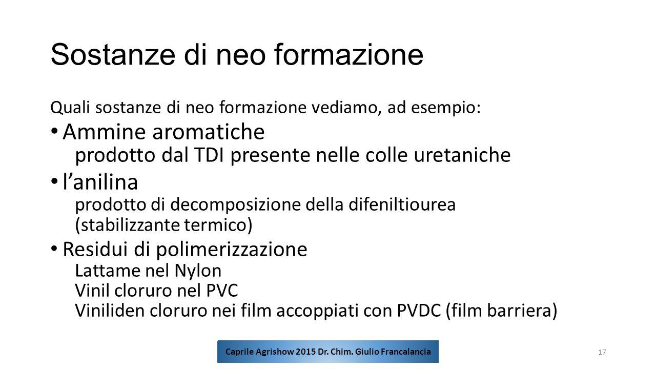 Sostanze di neo formazione Quali sostanze di neo formazione vediamo, ad esempio: Ammine aromatiche prodotto dal TDI presente nelle colle uretaniche l'