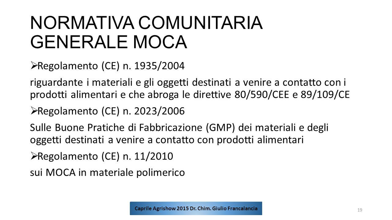 NORMATIVA COMUNITARIA GENERALE MOCA  Regolamento (CE) n. 1935/2004 riguardante i materiali e gli oggetti destinati a venire a contatto con i prodotti