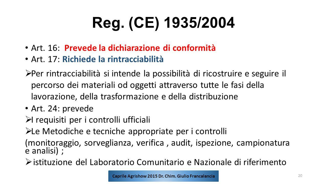 Reg. (CE) 1935/2004 Art. 16: Prevede la dichiarazione di conformità Art. 17: Richiede la rintracciabilità  Per rintracciabilità si intende la possibi