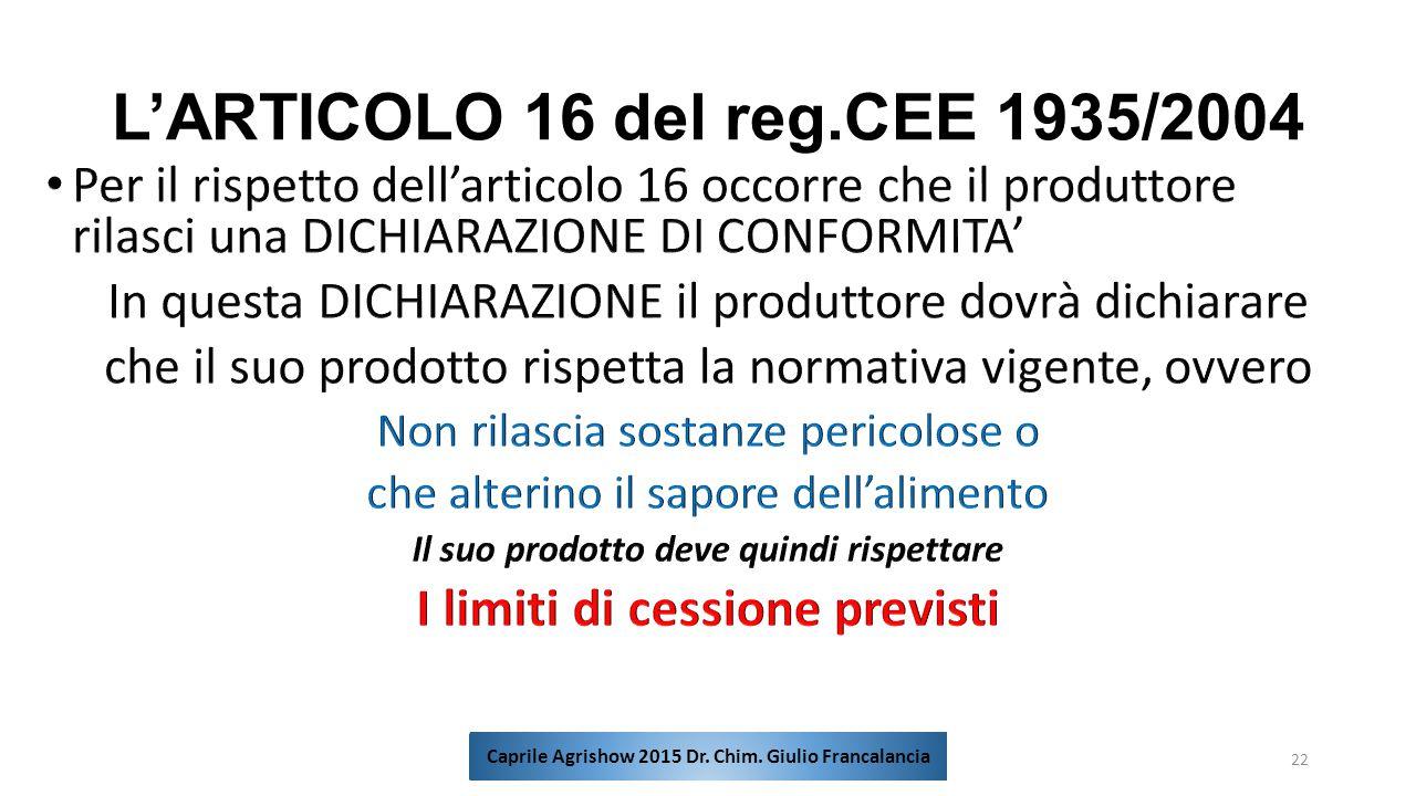 L'ARTICOLO 16 del reg.CEE 1935/2004 22 Caprile Agrishow 2015 Dr. Chim. Giulio Francalancia