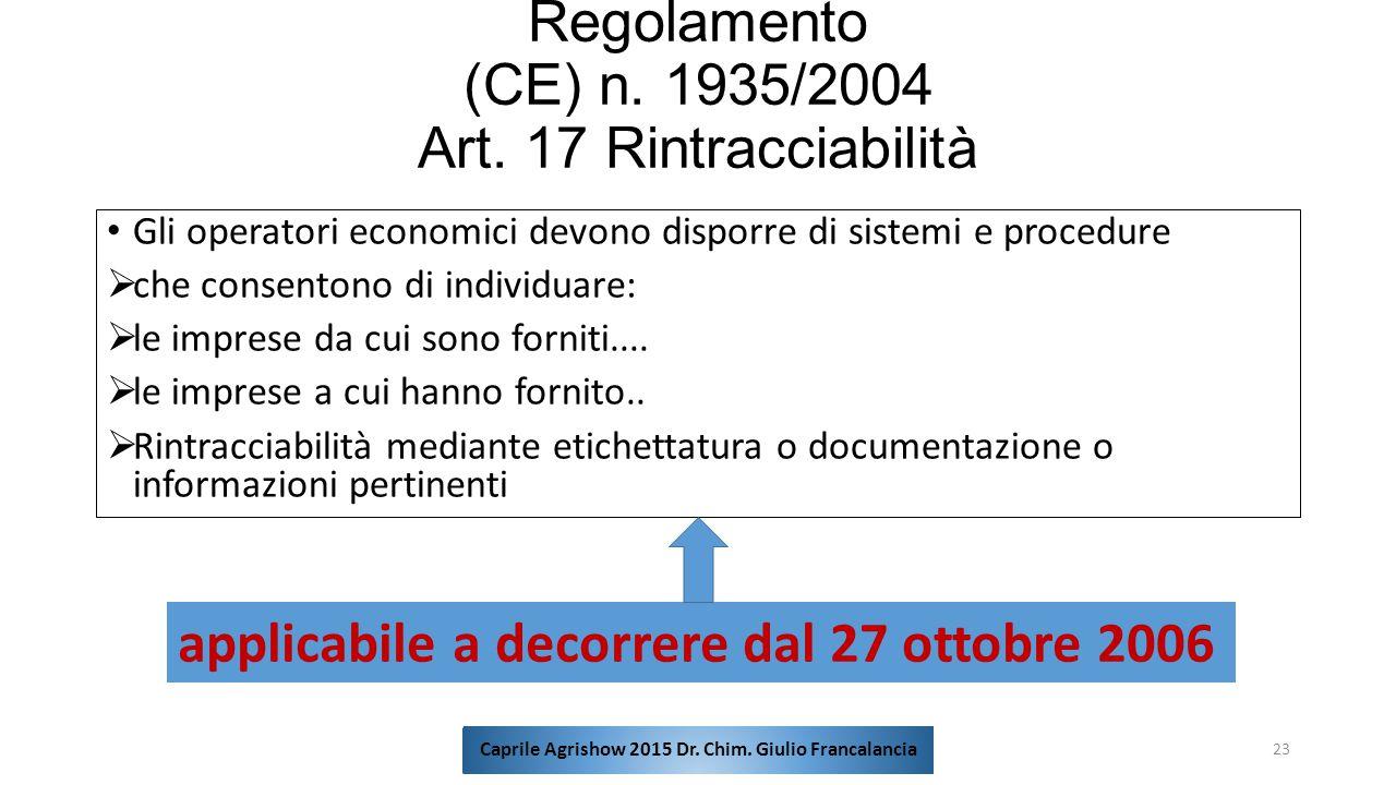 Regolamento (CE) n. 1935/2004 Art. 17 Rintracciabilità Gli operatori economici devono disporre di sistemi e procedure  che consentono di individuare: