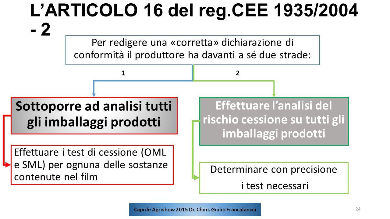 L'ARTICOLO 16 del reg.CEE 1935/2004 - 2 Per redigere una «corretta» dichiarazione di conformità il produttore ha davanti a sé due strade: 24 Sottoporr