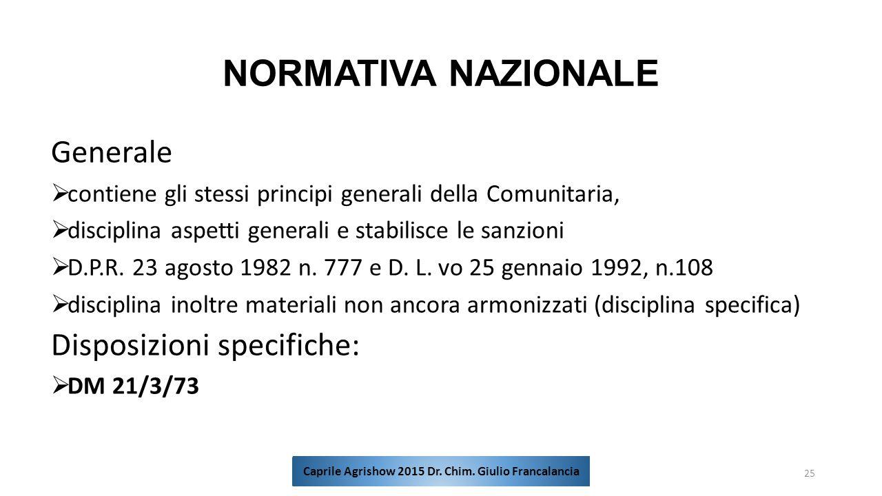 NORMATIVA NAZIONALE Generale  contiene gli stessi principi generali della Comunitaria,  disciplina aspetti generali e stabilisce le sanzioni  D.P.R