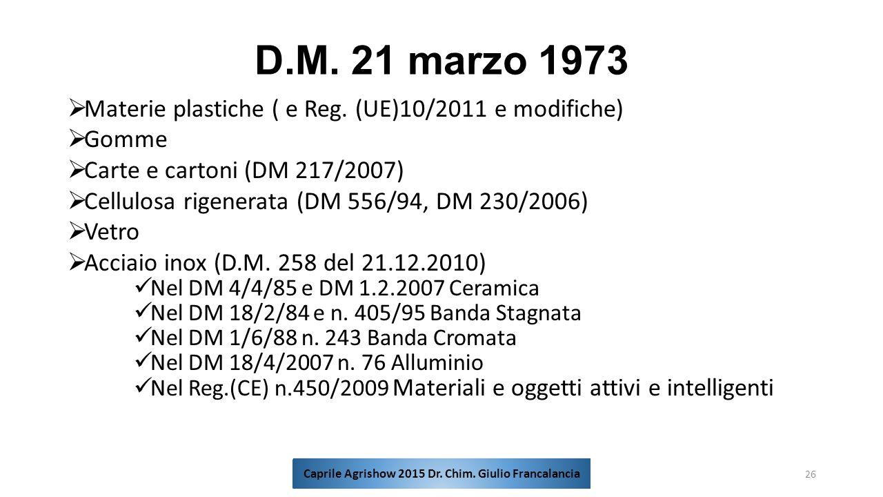 D.M. 21 marzo 1973  Materie plastiche ( e Reg. (UE)10/2011 e modifiche)  Gomme  Carte e cartoni (DM 217/2007)  Cellulosa rigenerata (DM 556/94, DM