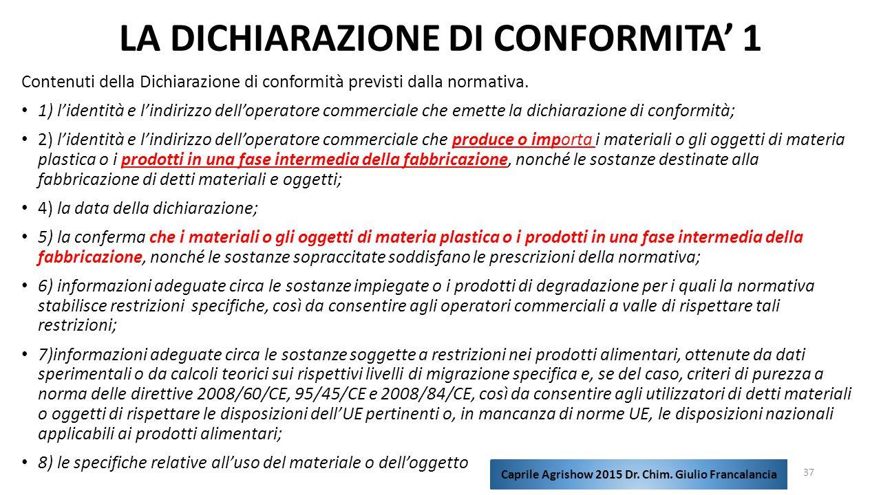 Dichiarazione di Conformita MOCA Materiali e Oggetti a Contatto