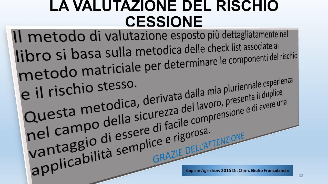 LA VALUTAZIONE DEL RISCHIO CESSIONE 38 Caprile Agrishow 2015 Dr. Chim. Giulio Francalancia