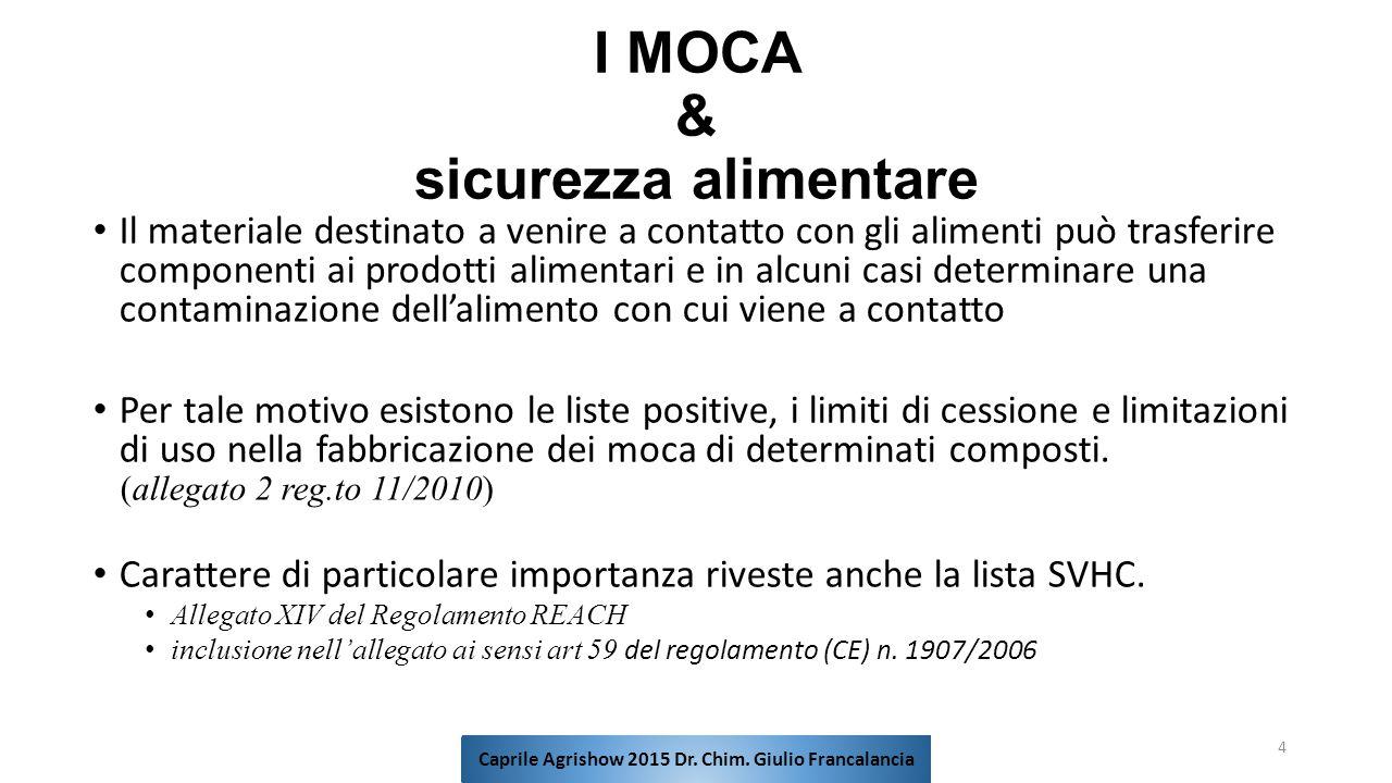 I MOCA & sicurezza alimentare Il materiale destinato a venire a contatto con gli alimenti può trasferire componenti ai prodotti alimentari e in alcuni