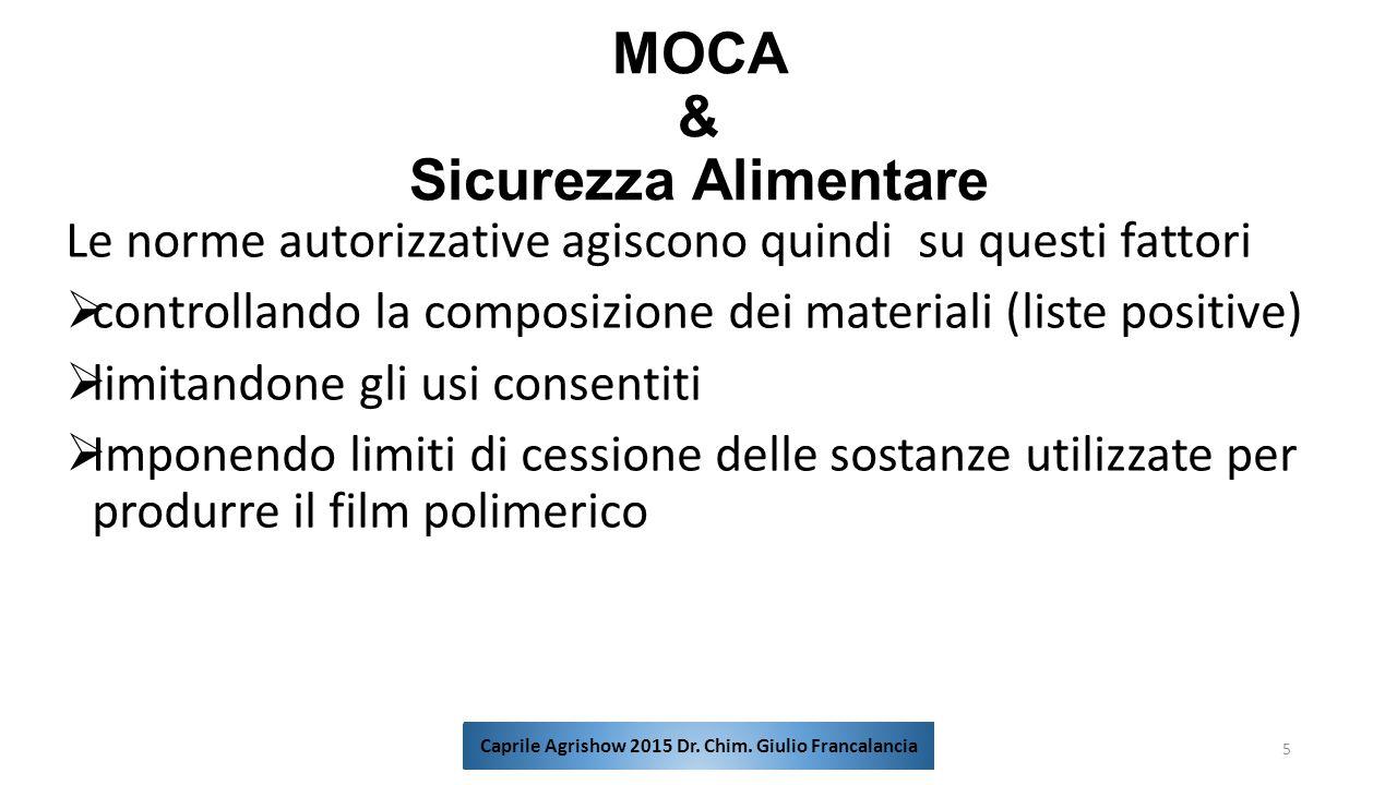 MOCA & Sicurezza Alimentare Le norme autorizzative agiscono quindi su questi fattori  controllando la composizione dei materiali (liste positive)  l