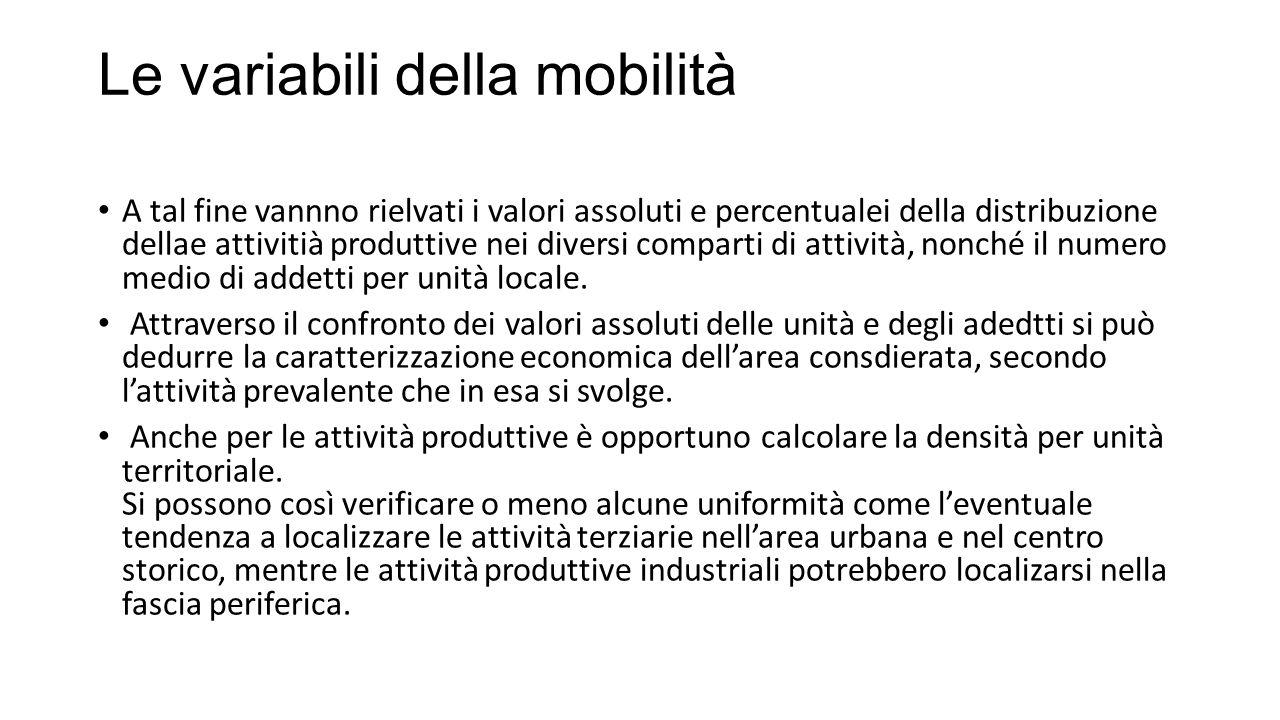 Le variabili della mobilità A tal fine vannno rielvati i valori assoluti e percentualei della distribuzione dellae attivitià produttive nei diversi comparti di attività, nonché il numero medio di addetti per unità locale.