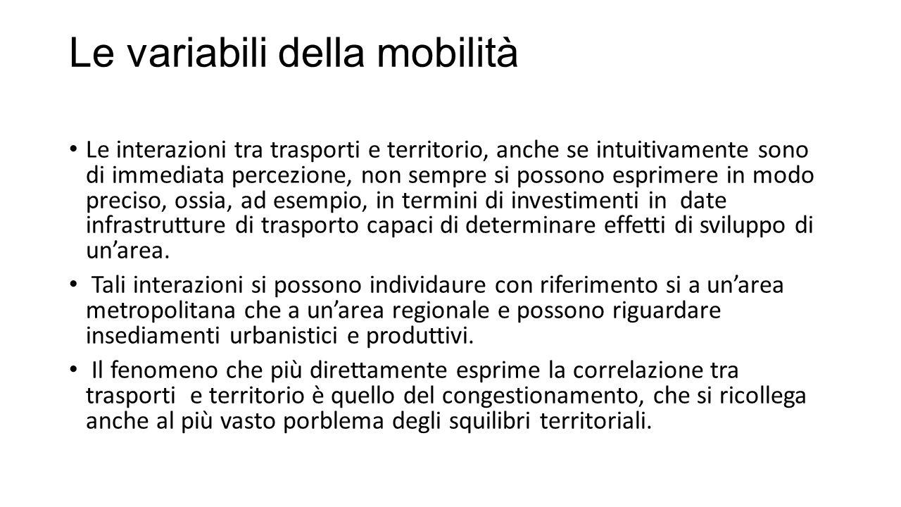 Le variabili della mobilità Le interazioni tra trasporti e territorio, anche se intuitivamente sono di immediata percezione, non sempre si possono esprimere in modo preciso, ossia, ad esempio, in termini di investimenti in date infrastrutture di trasporto capaci di determinare effetti di sviluppo di un'area.