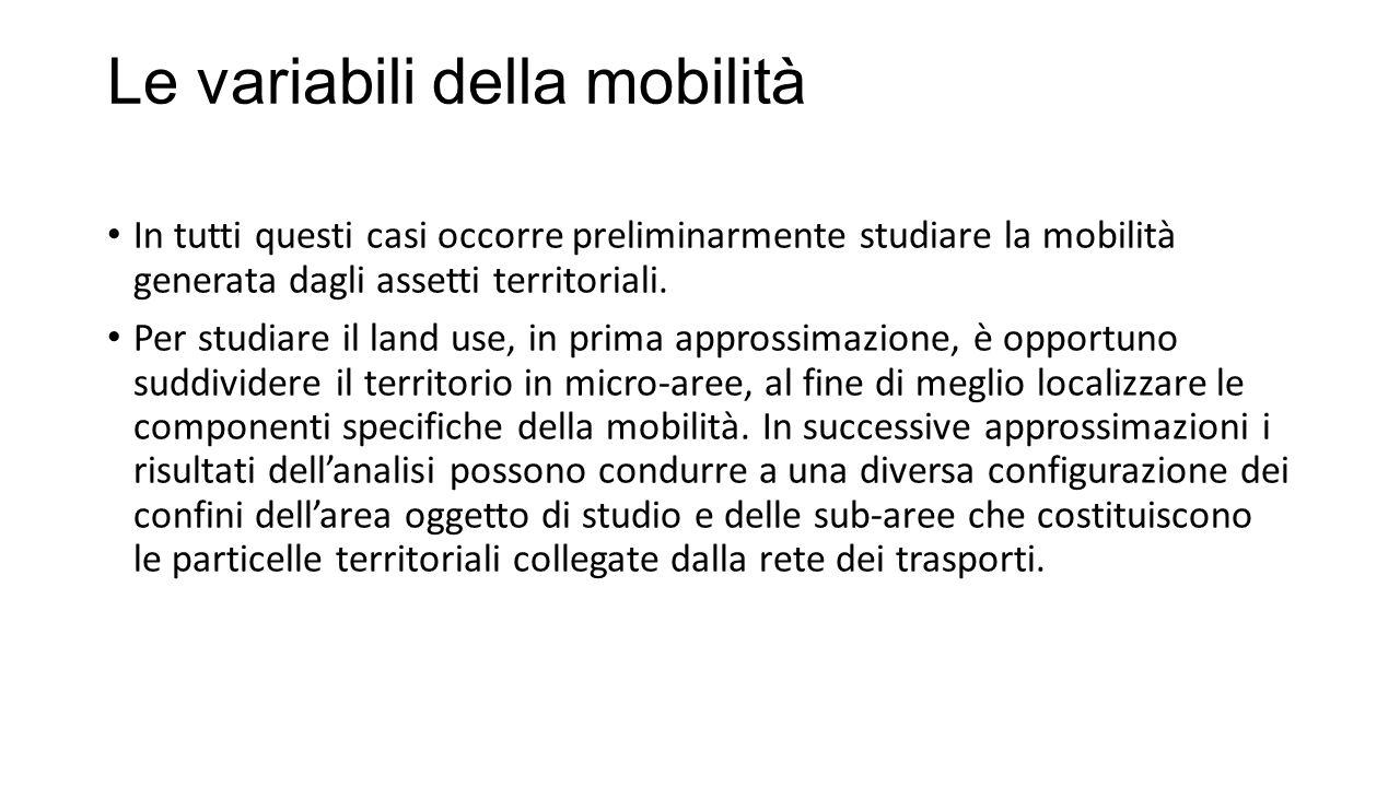 Le variabili della mobilità In tutti questi casi occorre preliminarmente studiare la mobilità generata dagli assetti territoriali.