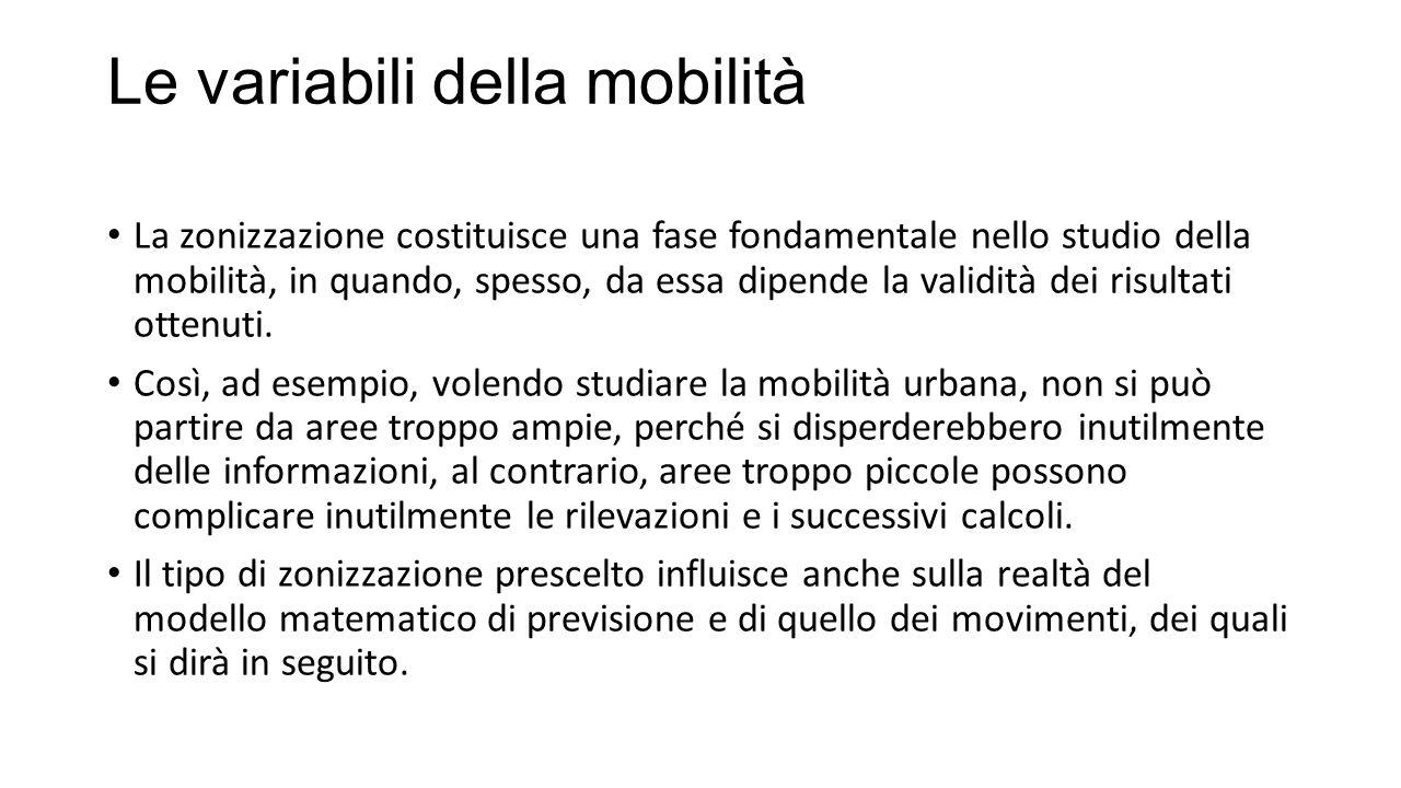 Le variabili della mobilità La zonizzazione costituisce una fase fondamentale nello studio della mobilità, in quando, spesso, da essa dipende la validità dei risultati ottenuti.