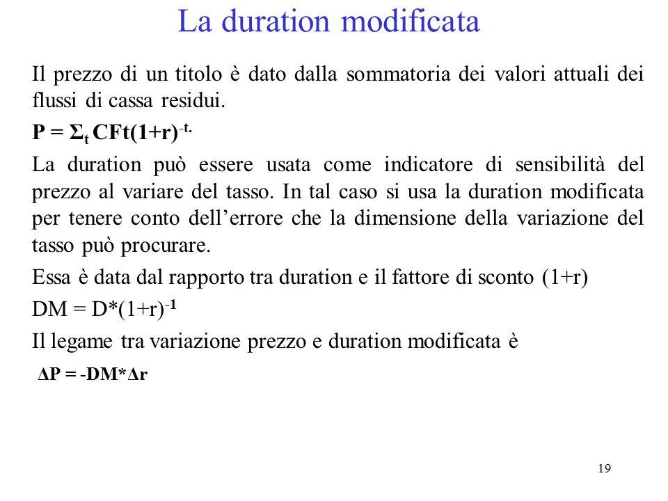 19 La duration modificata Il prezzo di un titolo è dato dalla sommatoria dei valori attuali dei flussi di cassa residui. P = Σ t CFt(1+r) -t. La durat