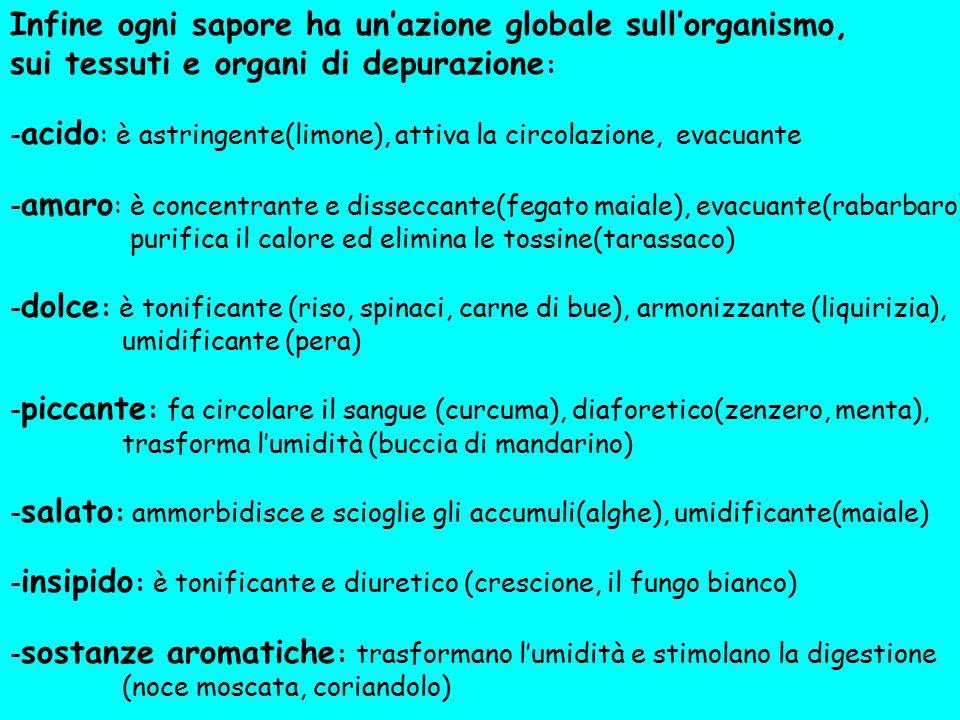 Infine ogni sapore ha un'azione globale sull'organismo, sui tessuti e organi di depurazione : - acido : è astringente(limone), attiva la circolazione,