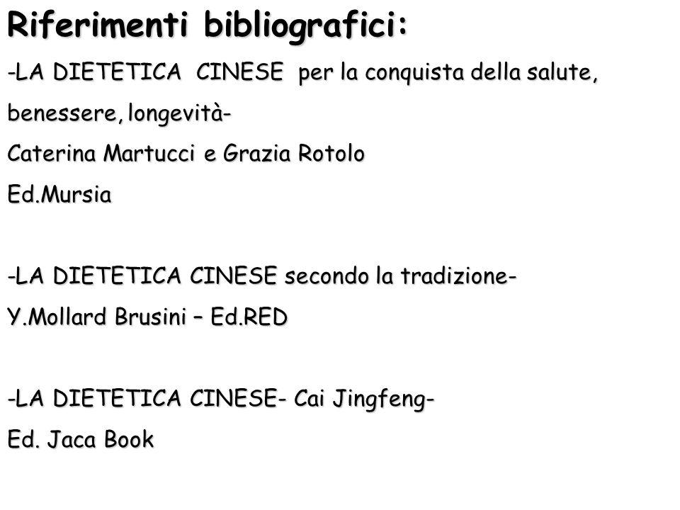 Riferimenti bibliografici: -LA DIETETICA CINESE per la conquista della salute, benessere, longevità- Caterina Martucci e Grazia Rotolo Ed.Mursia -LA D