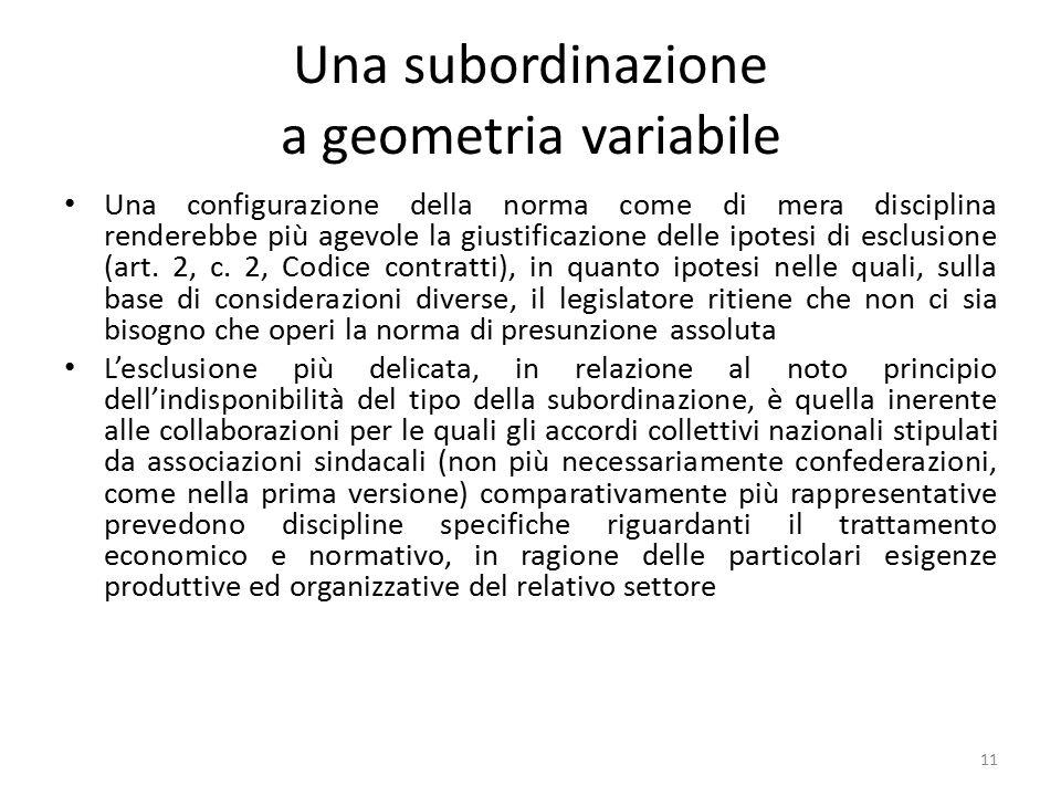 Una subordinazione a geometria variabile Una configurazione della norma come di mera disciplina renderebbe più agevole la giustificazione delle ipotes