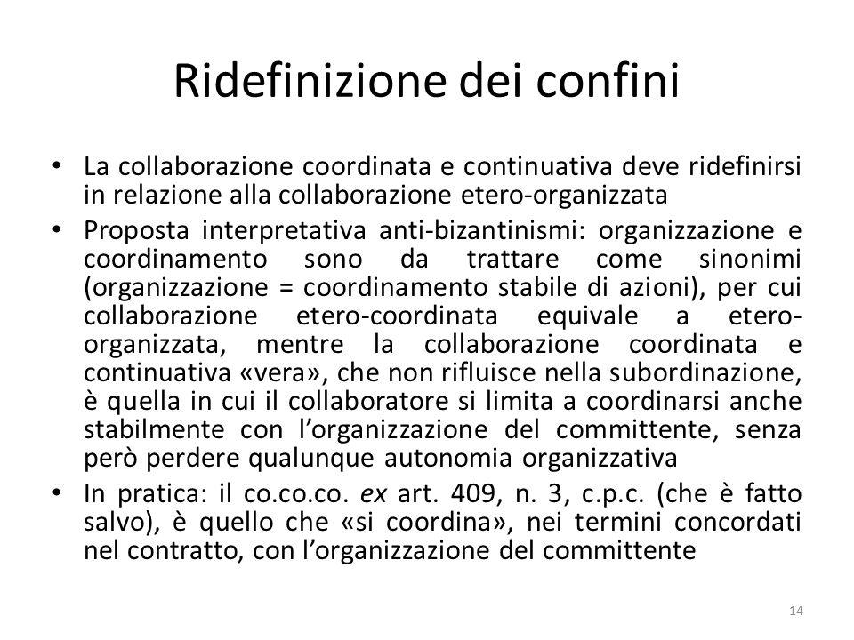 Ridefinizione dei confini La collaborazione coordinata e continuativa deve ridefinirsi in relazione alla collaborazione etero-organizzata Proposta int