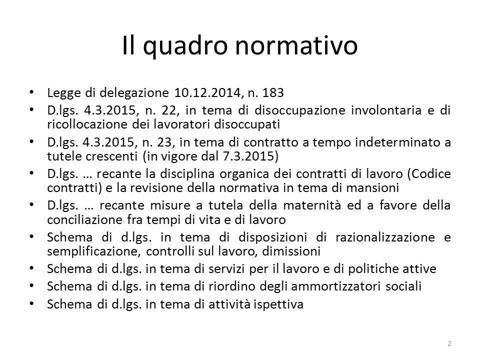 Il quadro normativo Legge di delegazione 10.12.2014, n. 183 D.lgs. 4.3.2015, n. 22, in tema di disoccupazione involontaria e di ricollocazione dei lav