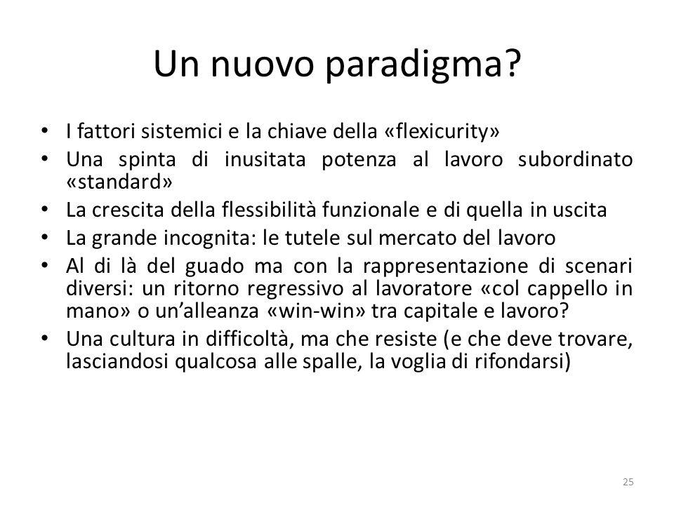 Un nuovo paradigma? I fattori sistemici e la chiave della «flexicurity» Una spinta di inusitata potenza al lavoro subordinato «standard» La crescita d