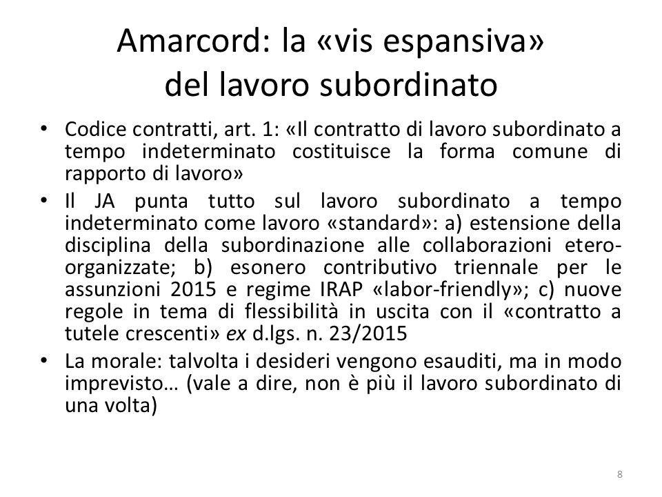 Amarcord: la «vis espansiva» del lavoro subordinato Codice contratti, art. 1: «Il contratto di lavoro subordinato a tempo indeterminato costituisce la