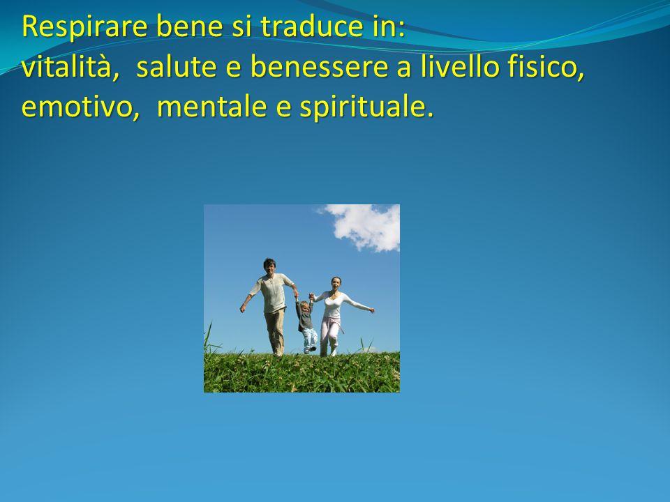 Respirare bene si traduce in: vitalità, salute e benessere a livello fisico, emotivo, mentale e spirituale.
