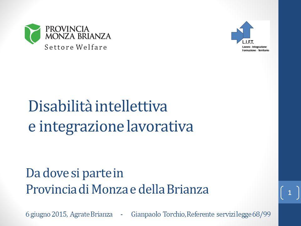 Disabilità intellettiva e integrazione lavorativa Da dove si parte in Provincia di Monza e della Brianza Settore Welfare 1 6 giugno 2015, Agrate Brianza - Gianpaolo Torchio, Referente servizi legge 68/99