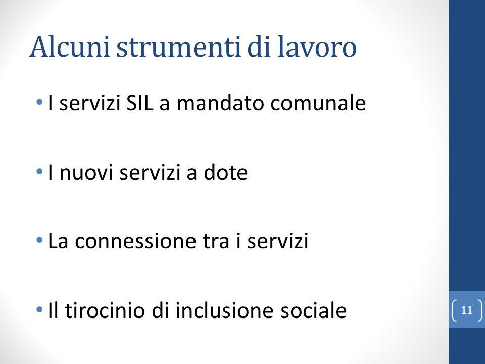 Alcuni strumenti di lavoro 11 I servizi SIL a mandato comunale I nuovi servizi a dote La connessione tra i servizi Il tirocinio di inclusione sociale
