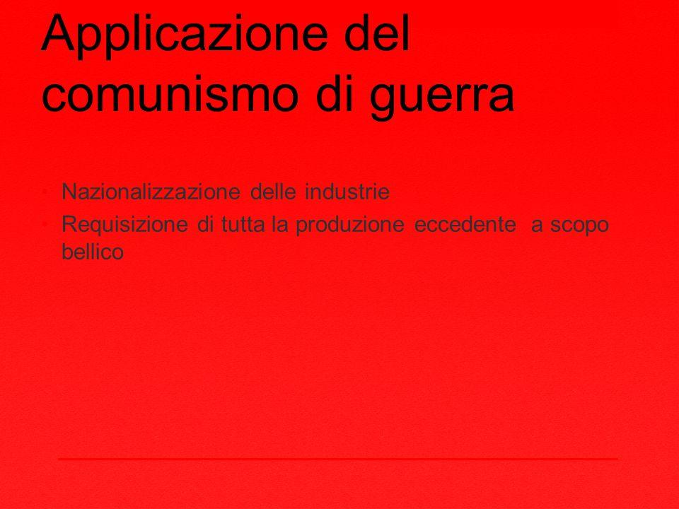 Applicazione del comunismo di guerra Nazionalizzazione delle industrie Requisizione di tutta la produzione eccedente a scopo bellico