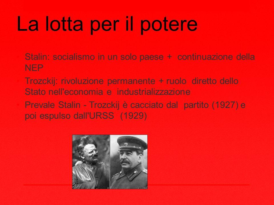La lotta per il potere Stalin: socialismo in un solo paese + continuazione della NEP Trozckij: rivoluzione permanente + ruolo diretto dello Stato nell economia e industrializzazione Prevale Stalin - Trozckij è cacciato dal partito (1927) e poi espulso dall URSS (1929)