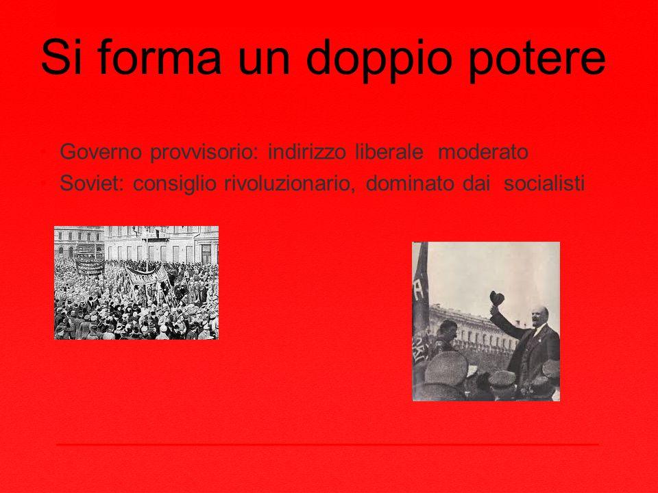 Si forma un doppio potere Governo provvisorio: indirizzo liberale moderato Soviet: consiglio rivoluzionario, dominato dai socialisti