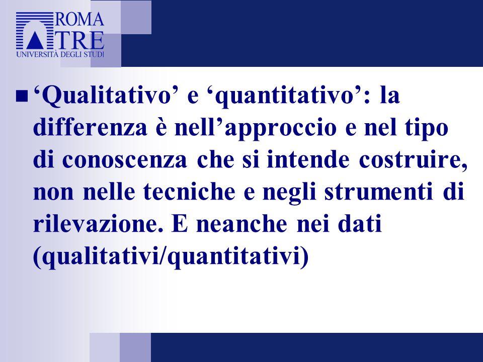 'Qualitativo' e 'quantitativo': la differenza è nell'approccio e nel tipo di conoscenza che si intende costruire, non nelle tecniche e negli strumenti