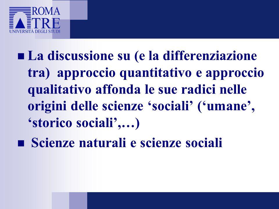 La discussione su (e la differenziazione tra) approccio quantitativo e approccio qualitativo affonda le sue radici nelle origini delle scienze 'social