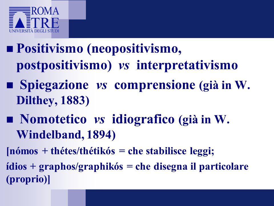 Positivismo (neopositivismo, postpositivismo) vs interpretativismo Spiegazione vs comprensione (già in W. Dilthey, 1883) Nomotetico vs idiografico (gi