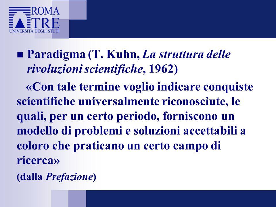 Paradigma (T. Kuhn, La struttura delle rivoluzioni scientifiche, 1962) «Con tale termine voglio indicare conquiste scientifiche universalmente riconos