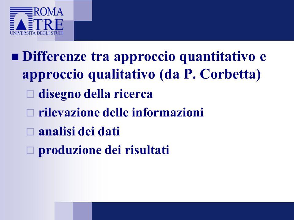Differenze tra approccio quantitativo e approccio qualitativo (da P. Corbetta)  disegno della ricerca  rilevazione delle informazioni  analisi dei