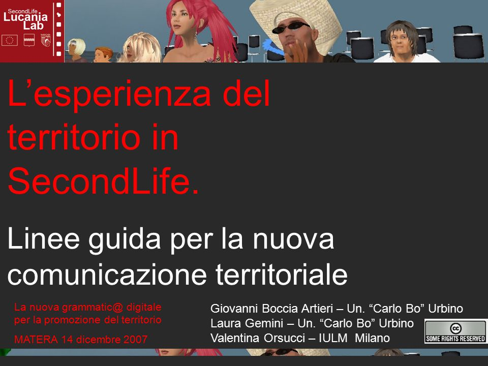 L'esperienza del territorio in SecondLife.