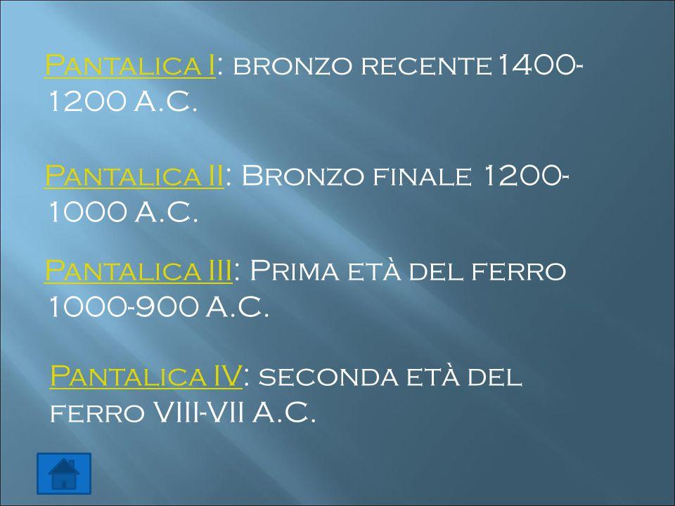 Pantalica IPantalica I: bronzo recente1400- 1200 A.C. Pantalica IIPantalica II: Bronzo finale 1200- 1000 A.C. Pantalica IIIPantalica III: Prima età de