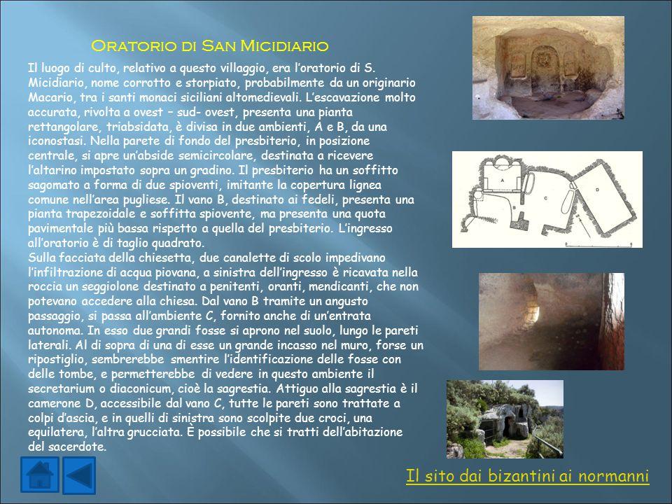 Il luogo di culto, relativo a questo villaggio, era l'oratorio di S. Micidiario, nome corrotto e storpiato, probabilmente da un originario Macario, tr
