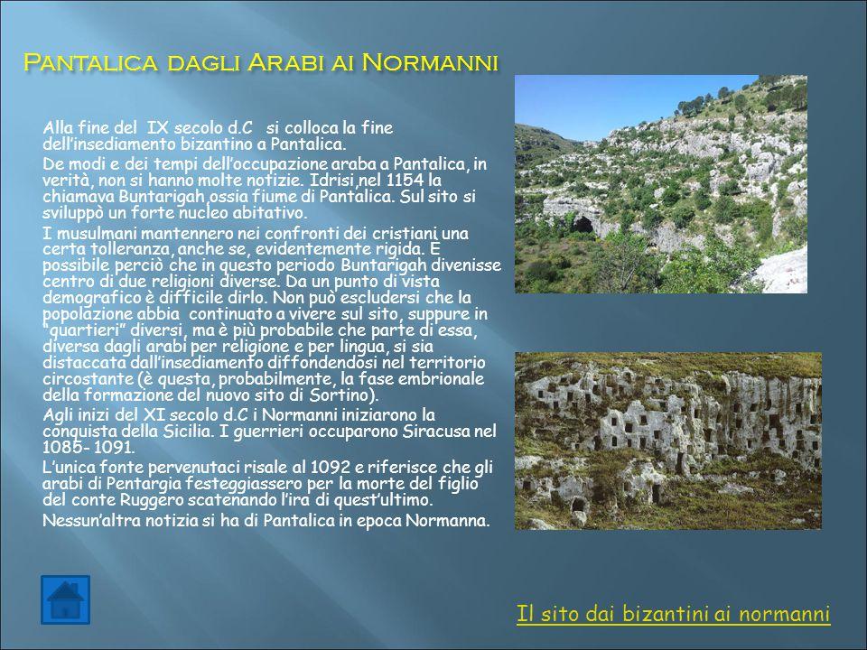 Pantalica dagli Arabi ai Normanni Pantalica dagli Arabi ai Normanni Alla fine del IX secolo d.C si colloca la fine dell'insediamento bizantino a Panta