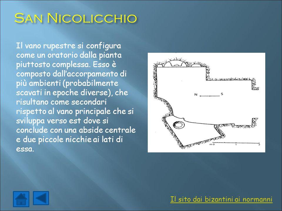San Nicolicchio Il vano rupestre si configura come un oratorio dalla pianta piuttosto complessa. Esso è composto dall'accorpamento di più ambienti (pr