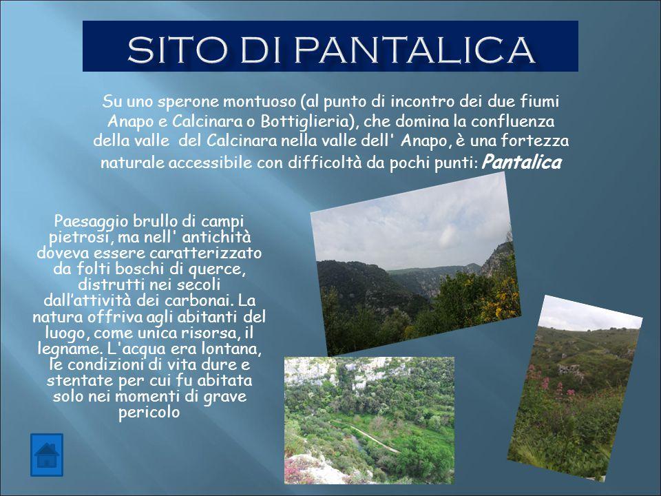 Su uno sperone montuoso (al punto di incontro dei due fiumi Anapo e Calcinara o Bottiglieria), che domina la confluenza della valle del Calcinara nell