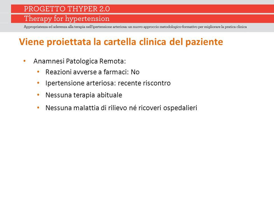 Viene proiettata la cartella clinica del paziente Anamnesi Patologica Remota: Reazioni avverse a farmaci: No Ipertensione arteriosa: recente riscontro