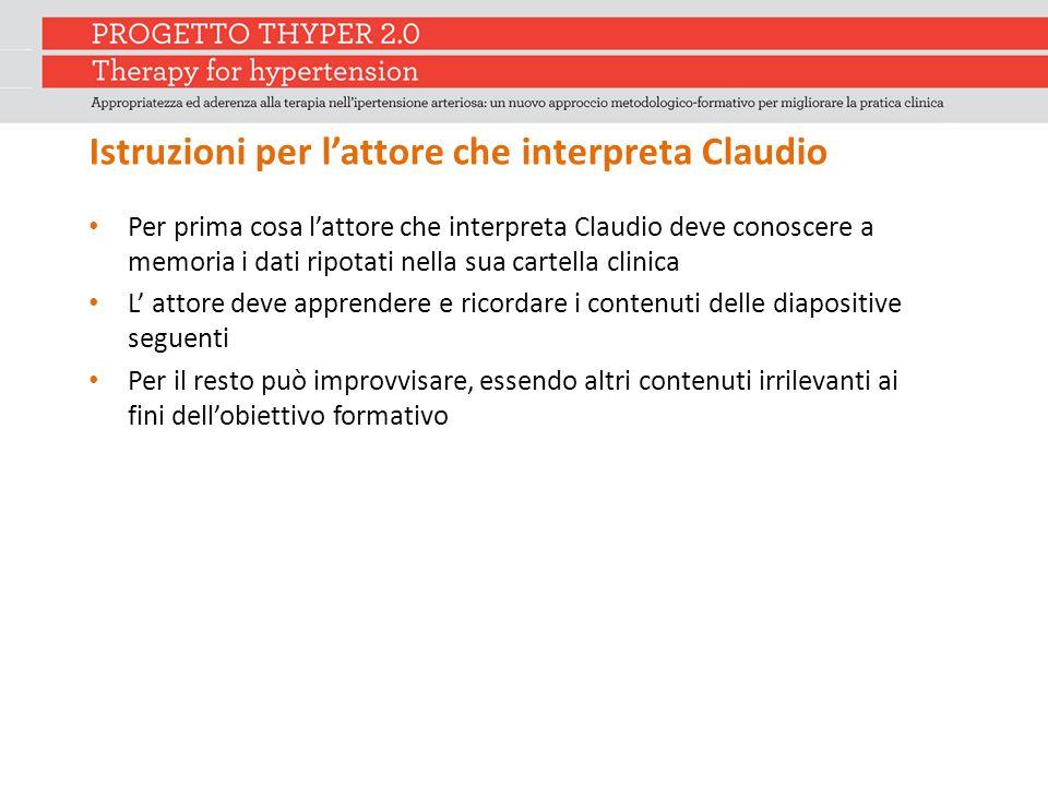 Istruzioni per l'attore che interpreta Claudio Per prima cosa l'attore che interpreta Claudio deve conoscere a memoria i dati ripotati nella sua carte